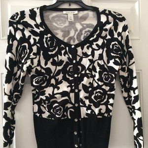 White House Black Market Rose Print Cardigan Sz M